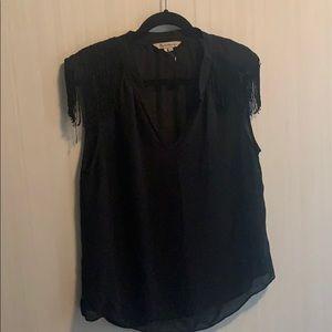 BCBG sheer blouse w/ shoulder fringe
